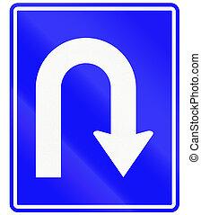 An Indonesian regulatory sign - mandatory U-turn.