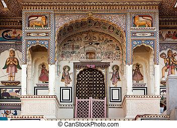 mandawa, índia, estado, rajasthan, hinduism, templo