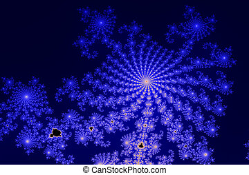 This section of the Mandelbrot set (fractal) is computer generated and shows a radial structure in blue and black colors.