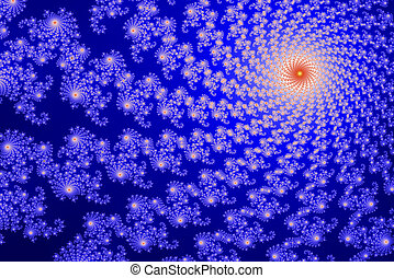 This section of the Mandelbrot set (fractal) is computer generated and shows a vortex like structure. in blue and red colors.