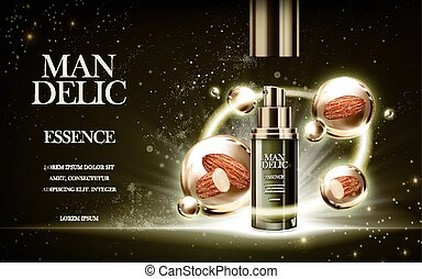 mandelic essence ad - essence contained in bottle, with...