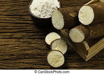 mandioca, manihot, de madera, manioc, yuca, mandioca, foco, tapioca, selectivo, arrowroot., plano de fondo, brasileño, esculenta., old.
