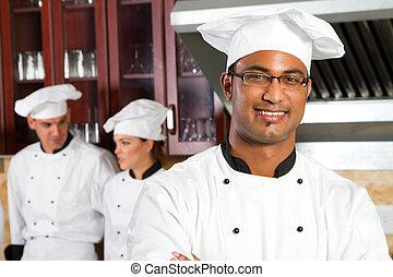 mandlig, afrikansk, professionel, køkkenchef