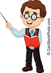mandlig, cartoon, lærer