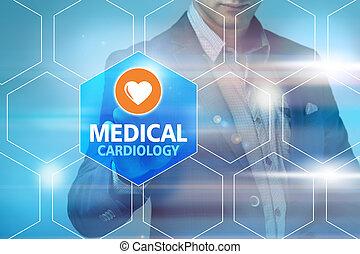 mandlig doktor, røre, medicinsk, grænseflade, på, moderne teknologi