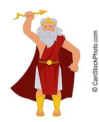 mandlig, gud, zeus, karakter, isoleret, gammelagtig, lyn,...