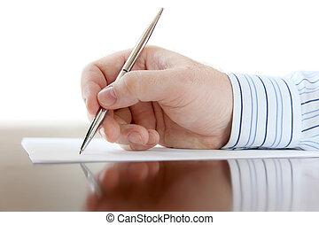 mandlig, hånd, hos, pen