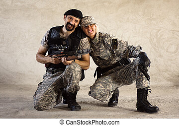 mandlig kvindelig, militær, personer
