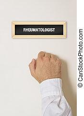 mandlig, patient, bank, på, rheumatologist, dør