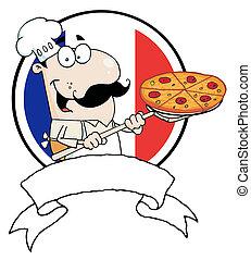 mandlig, pizzeria, køkkenchef, holde, en, pizza