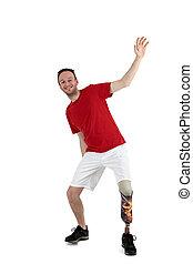 mandlig, protese, wearer, demonstrer, balance
