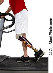 mandlig, protese, wearer, undergå, rehabilitering