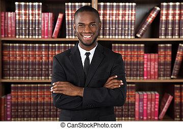 mandlig, sagfører, ind, kontor