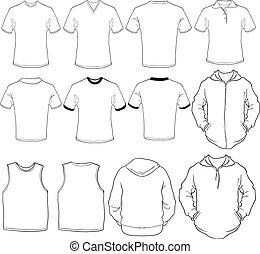 mandlig, skjorter, skabelon