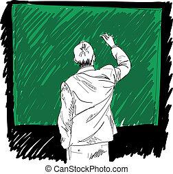 mandlig, skrift, noget, på, board., vektor, illustration