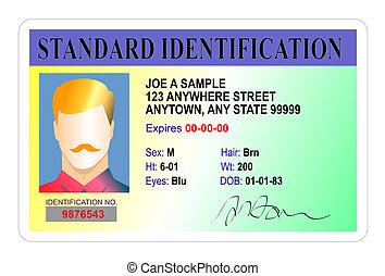 mandlig, standard, identifikation card