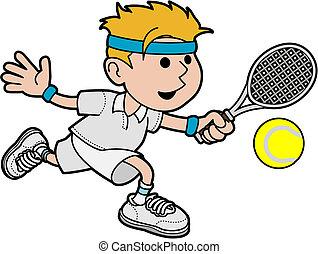 mandlig, tennis, illustration, spiller