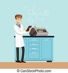 mandlig, videnskabsmand, lede, forskning, ind, en,...