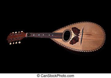 mandolin, fekete, elszigetelt, háttér