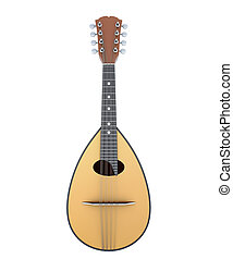 Mandolin front view isolated on white background. 3d...