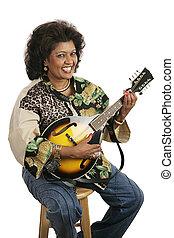 mandolina, mujer, juego