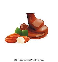 mandorla, liquido, cioccolato