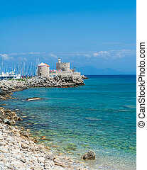 Mandraki harbor in Rhodes island