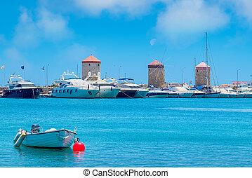 Mandraki harbor. Rhodes, Greece