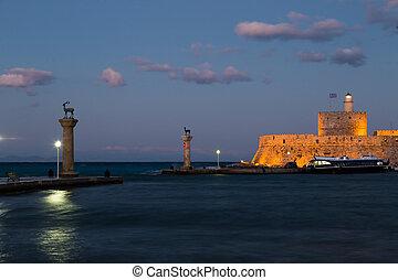 Mandraki Harbour, Rhodes Greece