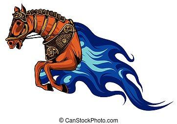 mane., 火, 種馬, 悪魔, 馬, 赤, 燃えている, 頭, オレンジ, シンボル, 明るい, ∥あるいは∥, 怒る