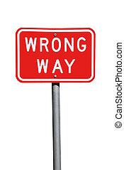 maneira errada, sinal tráfego, -, corrente, australiano, sinal estrada, isolado, branco