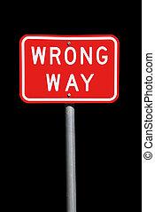 maneira errada, sinal tráfego, -, corrente, australiano, sinal estrada, isolado, ligado, pretas