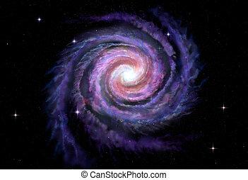maneira, galáxia, espiral, ilustração, leitoso