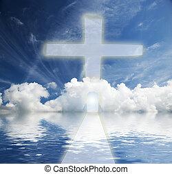 maneira, para, céu, vida nova