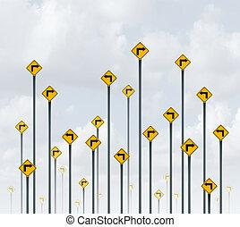 maneira, sinais, confundido, direção