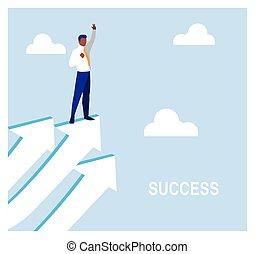 maneira, sucesso, seta, homem negócios