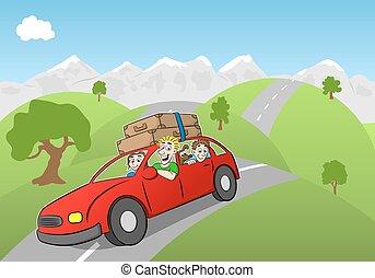 Manejar, vacaciones, familia, caricatura