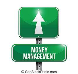 manejo dinheiro, estrada, ilustração, sinal