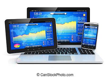 manejo financeiro, ligado, móvel, dispositivos