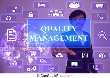 manejo qualidade, conceito, apresentado, por, homem negócios, tocar, ligado, virtual, tela, elemento, fornecido, por, nasa
