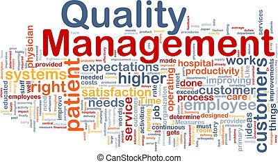 manejo qualidade, fundo, conceito