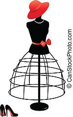 manekýnka, s, jeden, červené šaty povolání