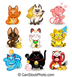 Maneki Neko Fortune Cat Collection - Illustration of Chinese...