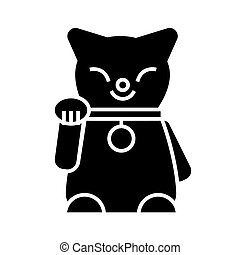 maneki, neko, icono, vector, ilustración, negro, señal, en, aislado, plano de fondo