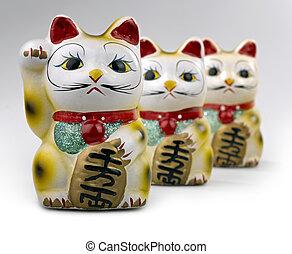 maneki, neko, (japanese, 歡迎, 貓, 幸運的貓, 貓, 柄, 錢, 貓, 或者, 命運,...