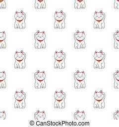 Maneki-neko. Seamless pattern with japanese lucky welcoming cat. Hand-drawn original background.