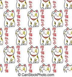 Maneki-neko. Seamless pattern with japanese lucky welcoming cat and japanese word Maneki-neko. Hand-drawn original background.
