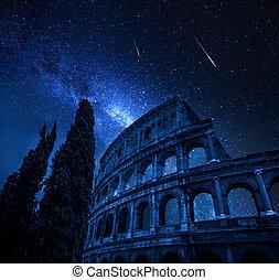 manera, estrellas, roma, italia, caer, coliseo, lechoso