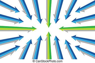 manera, flechas, mismo, señalar