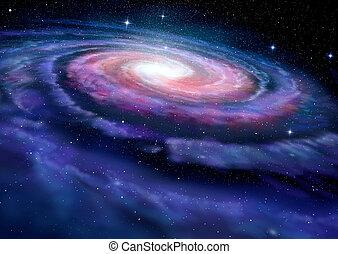 manera, galaxia, espiral, ilustración, lechoso